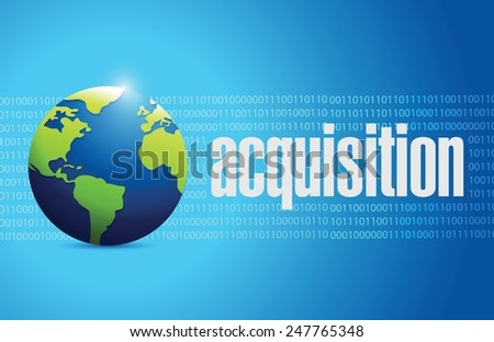 acquisition globe sign illustration design over a binary background - stock vector