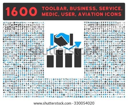 Acquisition Graph vector icon and 1600 other business, service tools, medical care, software toolbar, web interface pictograms. Style is bicolor flat symbols, blue and gray colors, rounded angles - stock vector