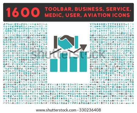 Acquisition Graph vector icon and 1600 other business, service tools, medical care, software toolbar, web interface pictograms. Style is bicolor flat symbols, grey and cyan colors, rounded angles - stock vector