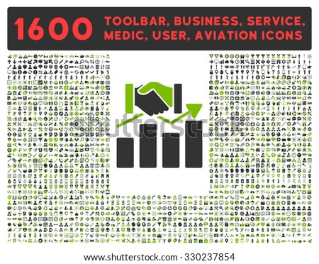 Acquisition Graph vector icon and 1600 other business, service tools, medical care, software toolbar, web interface pictograms. Style is bicolor flat symbols, eco green and gray colors, rounded angles - stock vector