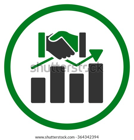 Acquisition Graph vector icon. Style is bicolor flat circled symbol, green and gray colors, rounded angles, white background. - stock vector