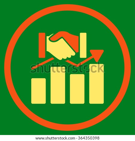 Acquisition Graph vector icon. Style is bicolor flat circled symbol, orange and yellow colors, rounded angles, green background. - stock vector