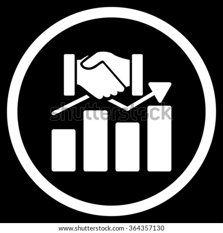 Acquisition Graph vector icon. Style is flat circled symbol, white color, rounded angles, black background. - stock vector