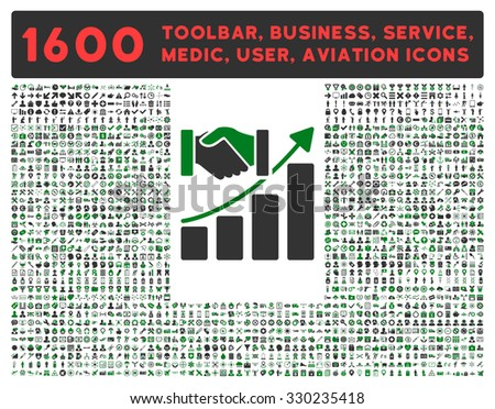 Acquisition Growth vector icon and 1600 other business, service tools, medical care, software toolbar, web interface pictograms. Style is bicolor flat symbols, green and gray colors, rounded angles - stock vector