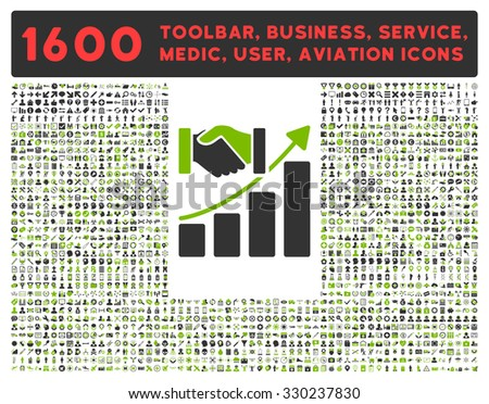 Acquisition Growth vector icon and 1600 other business, service tools, medical care, software toolbar, web interface pictograms. Style is bicolor flat symbols, eco green and gray colors, rounded - stock vector