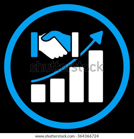 Acquisition Growth vector icon. Style is bicolor flat circled symbol, blue and white colors, rounded angles, black background. - stock vector