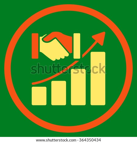 Acquisition Growth vector icon. Style is bicolor flat circled symbol, orange and yellow colors, rounded angles, green background. - stock vector