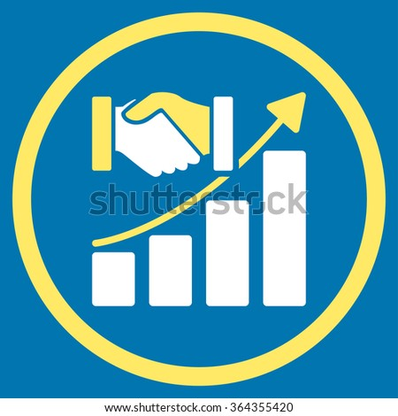 Acquisition Growth vector icon. Style is bicolor flat circled symbol, yellow and white colors, rounded angles, blue background. - stock vector