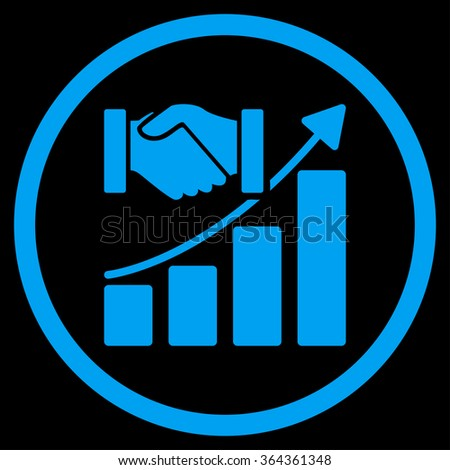 Acquisition Growth vector icon. Style is flat circled symbol, blue color, rounded angles, black background. - stock vector