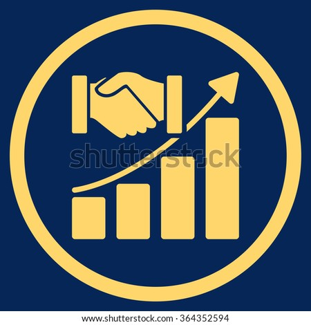 Acquisition Growth vector icon. Style is flat circled symbol, yellow color, rounded angles, blue background. - stock vector