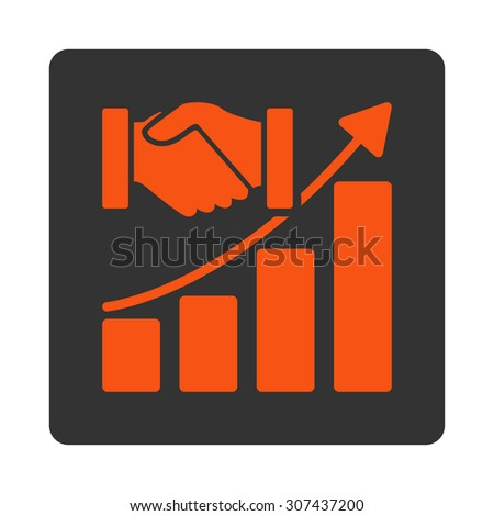 Acquisition Growth vector icon. This flat rounded square button uses orange and gray colors and isolated on a white background. - stock vector