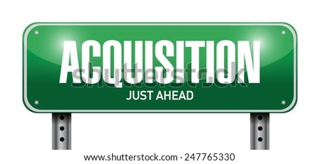 acquisition road sign illustration design over a white background - stock vector