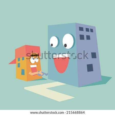 acquisition small company. Flat vector illustration - stock vector