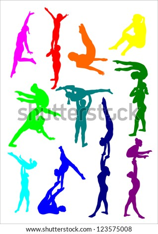 acrobatic girls - stock vector