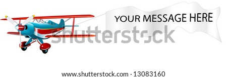 Acrobatic Pitts Special with banner (VECTOR) fully editable fuselage - stock vector