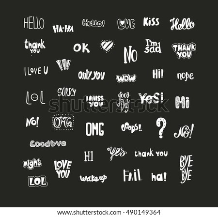 Acronyms and Abbreviations for communication. The most commonly used words and phrases. Hand drawing. The bright symbols on a dark background