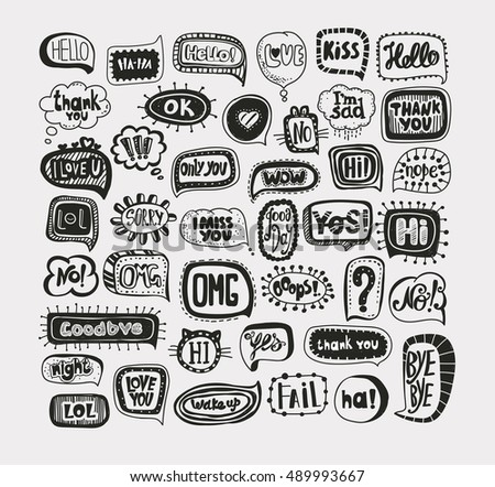 Acronyms and Abbreviations in the speech bubbles. The most commonly used words and phrases. Hand drawing.