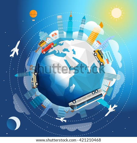Across the world tour by different vehicle. Travel concept vector illustration - stock vector