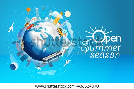 Across the world tour by different vehicle. Travel concept vector illustration. Open summer season - stock vector