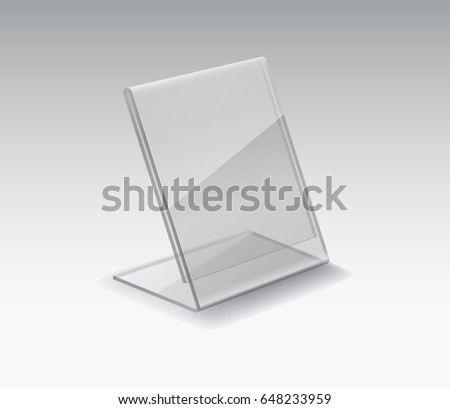 Acrylic Or Plexiglass Table Card Holder Isolated On Grey Background. Vector  Empty Glass, Plexi