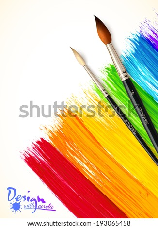Acrylic painted rainbow with paintbrushes, vector background - stock vector