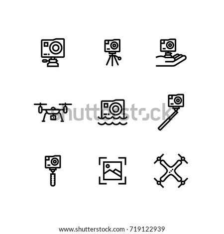Action Camera Extreme Gopro Drone Icon Stock Vector 719122939