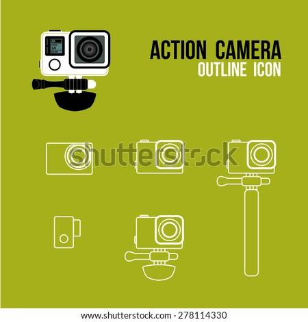 action camera outline icon, vector - stock vector