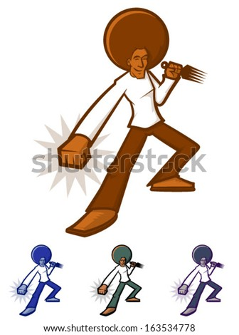 Action character with a giant afro/Afro Man Vector - stock vector