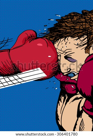 Action illustration of bruised boxer hit with glove - stock vector