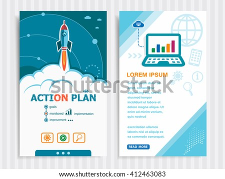 Action plan and concept background with rocket. Project Action plan concepts and Set of Banners. Vector Illustration. Eps10 Format.
