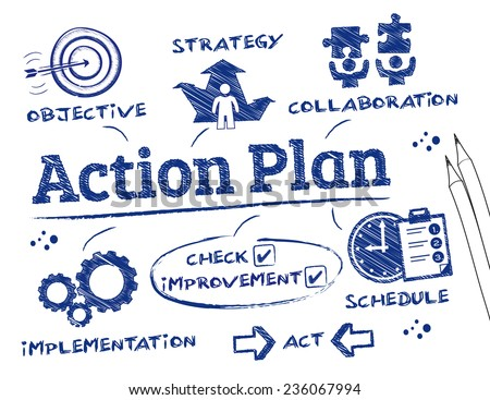 Action Plan. Chart with keywords and icons - stock vector