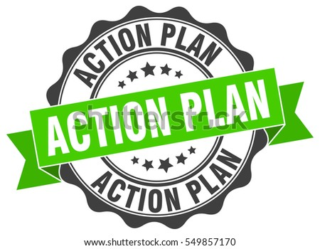 Action Plan Stamp Brown Round Action Stock Vector 514365721