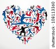 Action sports silhouettes in heart love shape. Vector file layered for easy manipulation and customisation. - stock photo
