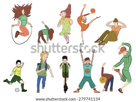 active children on a white background