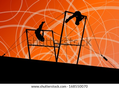 Active children sport silhouettes on uneven bars vector abstract background illustration - stock vector