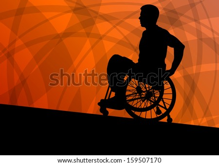 Active disabled man in a wheelchair detailed sport concept silhouette abstract illustration background vector - stock vector