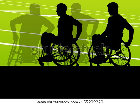 Active disabled men in a wheelchair detailed sport concept silhouette illustration background vector - stock vector