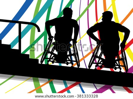 Active disabled men in a wheelchair medical health concept silhouette illustration background vector - stock vector