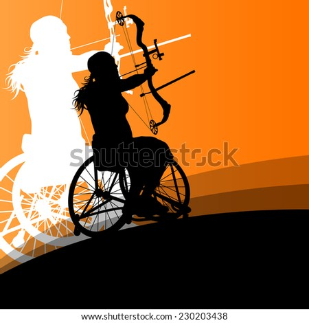 Active disabled young women in a wheelchair detailed health care archery sport arrow shooting concept silhouette illustration background vector - stock vector