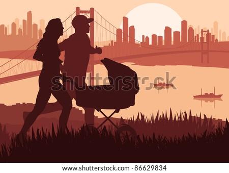Active family marathon runners in skyscraper city landscape background illustration - stock vector