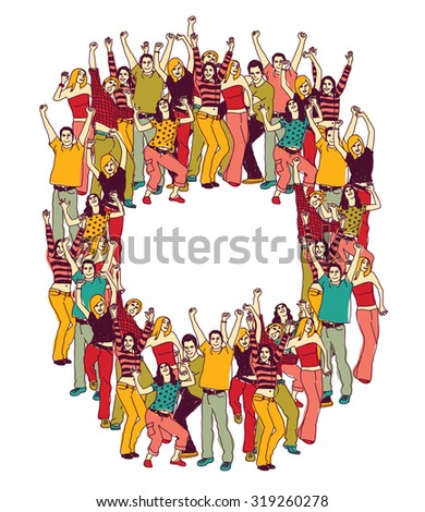 Active happy casual young people color. Frame with group active happy people team and empty place for text. Vector illustration. EPS8 - stock vector