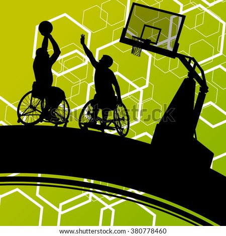 Active healthy disabled men basketball players in a wheelchair detailed sport concept silhouette illustration background vector