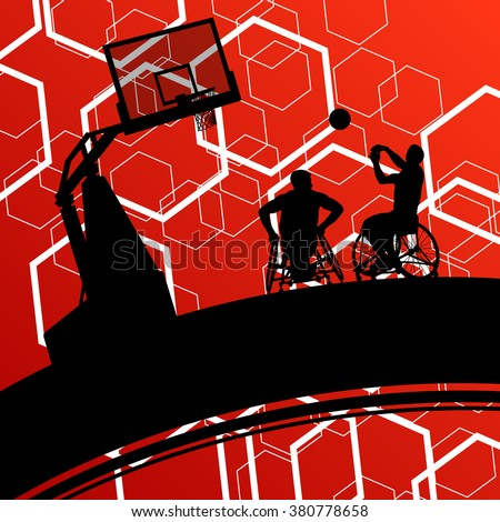 Active healthy disabled men basketball players in a wheelchair detailed sport concept silhouette illustration background vector - stock vector