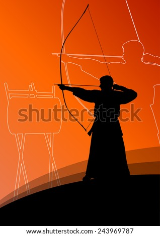 Active japanese kendo sport kyudo archer martial arts fighter bow silhouette abstract illustration background vector