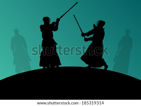 Active japanese Kendo sword martial arts fighters sport silhouettes abstract illustration background vector - stock vector