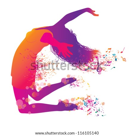 Active Jumping and Dancing Young Woman. Abstract Music Banner. - stock vector
