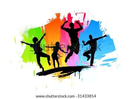Active jumping people. Vector Illustration. - stock vector