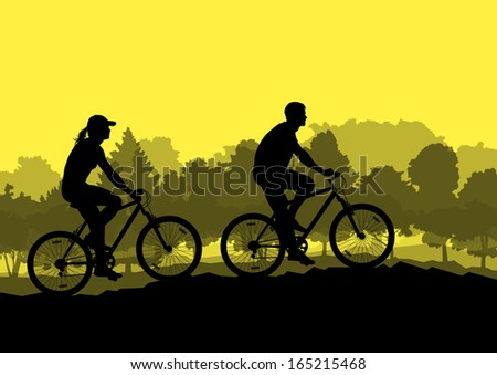 Active man and woman family cyclists bicycle riders in wild forest nature landscape background illustration vector - stock vector
