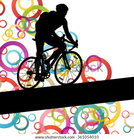 Active man cyclist bicycle rider in abstract sport landscape background illustration vector - stock vector