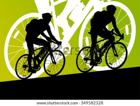 Active men cyclists bicycle rider couriers in abstract sport landscape background illustration vector - stock vector
